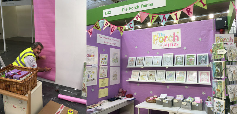 The Porch Fairies at events, including Nick putting the stand up.