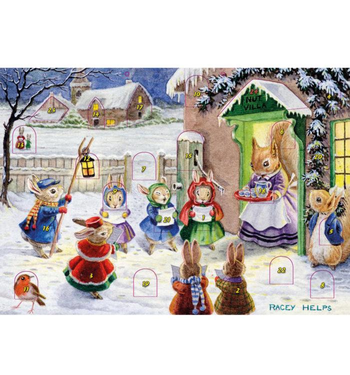 Advent Calendar Racey Helps The Carol Singers.