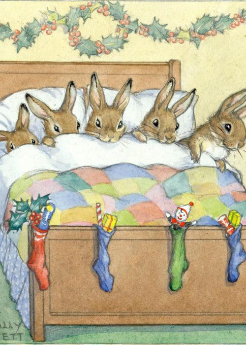 Molly Brett - Five Rabbits Tucked Up.