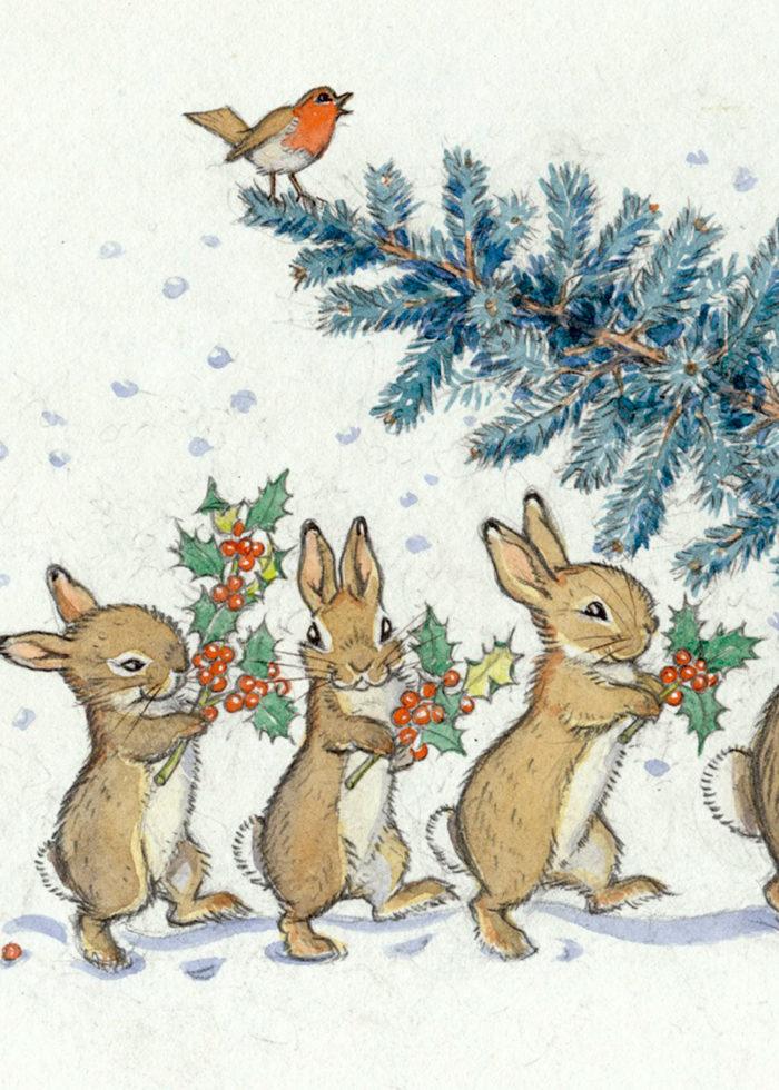 Molly Brett - Rabbits with Christmas Tree.