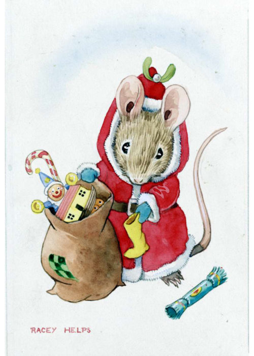 Racey Helps - Mouse dressed as Santa.