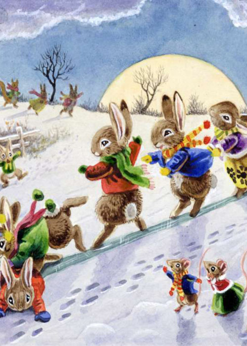 Racey Helps - Animals sliding on a Snowy Hill.
